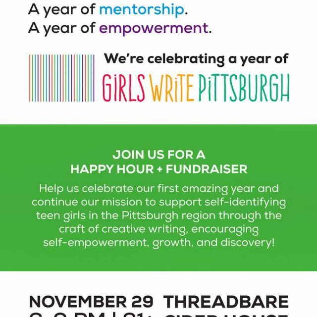 Next Wednesday November 29 girlswritepittsburgh is hosting a fundraising eventhellip